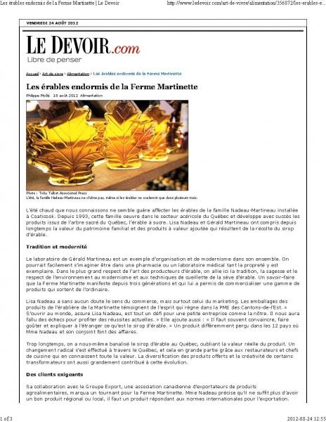 Le DEVOIR- Philippe Mollé 18 août 2012
