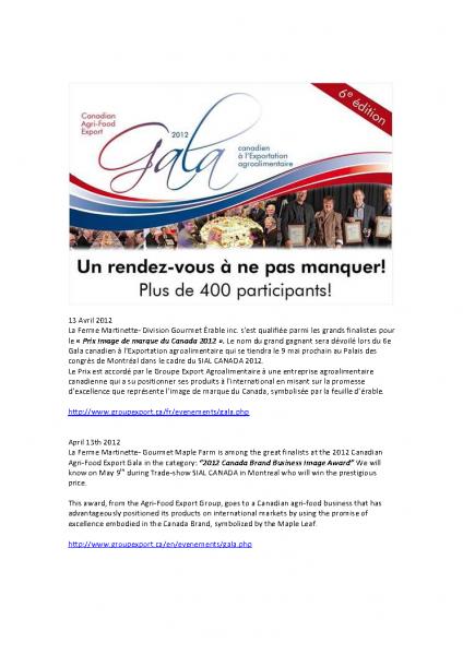 AVRIL 2012-FINALISTE GALA CANADIEN À L'EXPORTATION PRIX IMAGE DE MARQUE DU CANADA