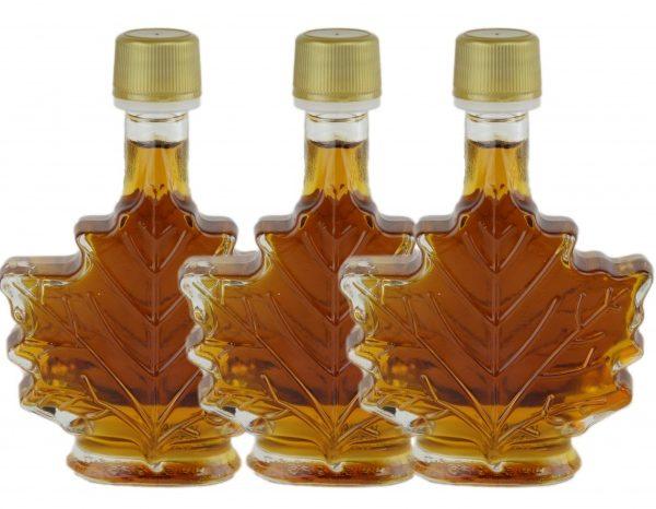 Sirop d'érable pur 3×50 ml-CANADA A Ambré, Goût Riche -Feuille Bouteille de verre
