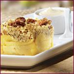 Croustade aux pommes, pacanes et romarin, mousseline Vanille-Érable