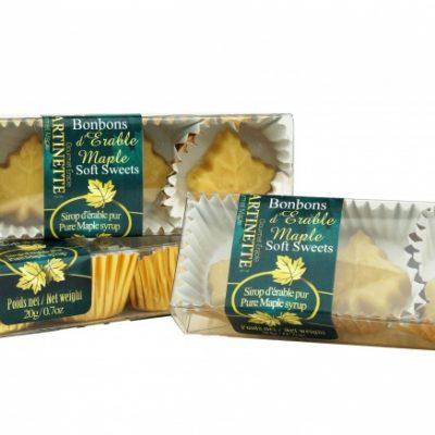 Purs bonbons fondants d'érable – 3 Boîtes de 3 mcx de 20g / 0.7 oz-Forme de feuille d'érable