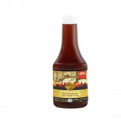 Sirop d'érable pur 500 ml – Foncé, Goût Robuste – Bouteille Compressible