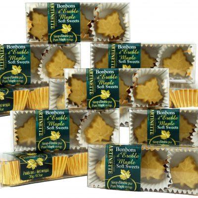Purs bonbons fondants d'érable – 12 Boîtes de 3 mcx de 20g / 0.7 oz-Forme de feuille d'érable