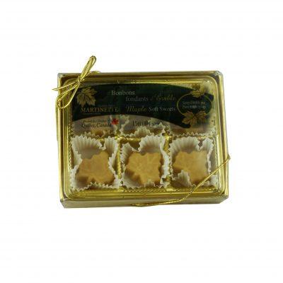Purs bonbons fondants d'érable- boîte 6 mcx (40 g / 1.5 oz) Forme de feuille d'érable