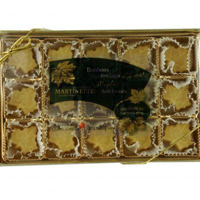Purs bonbons fondants d'érable – boîte 15 mcx (100 g / 3.6 oz) Forme de feuille d'érable