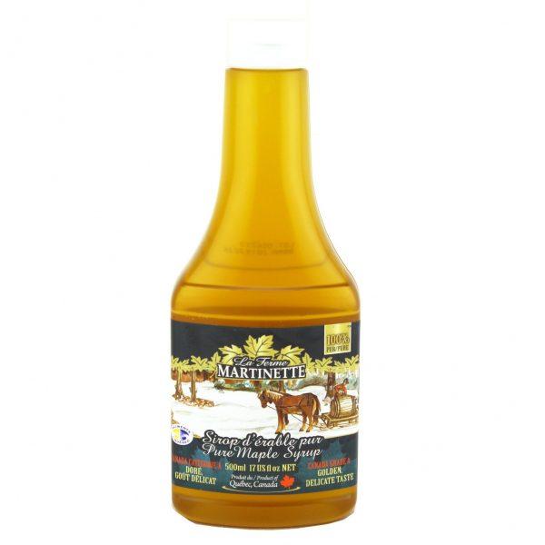 Sirop d'érable pur 500 ml – Doré, Goût Délicat – Bouteille Compressible