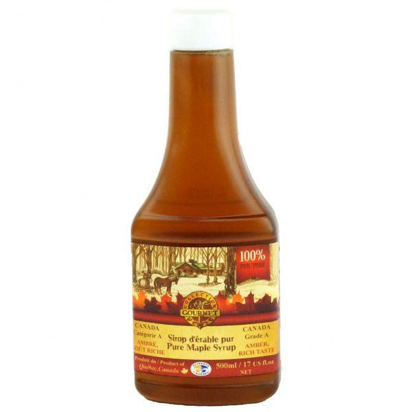 Sirop d'érable pur 500 ml – Ambré, Goût Riche – Bouteille Compressible