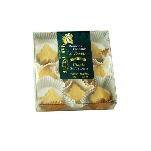 Purs bonbons fondants d'érable- boîte 9 mcx (65 g / 2.3 oz) Forme de feuille d'érable
