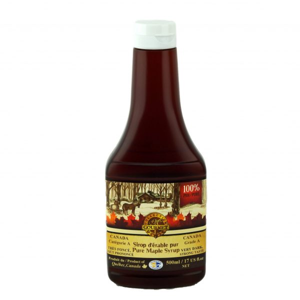 Sirop d'érable pur 500 ml – Très Foncé, Goût Prononcé – Bouteille Compressible